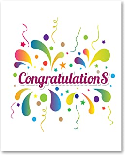 Jumbo Extra-Large Congratulations Greeting Card - Colorful Fun Design - Blank on the Inside - With Envelope 11.75