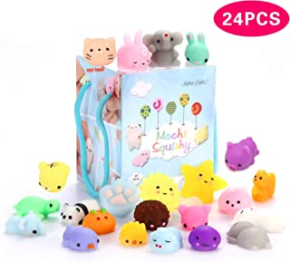 24Pcs Mochi Squishy Toys, Mochi Kawaii squishies Toys Gifts for Party Favors for Kids, Mini Supper Cute Animals Stress Relief Toys Squeeze Toys Squishy Easter Egg fillers Toy Easter Basket Stuffers