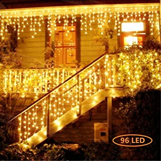 Christmas LED Icicle Lights, 13FT 96 LED Fairy String Lights Plug in Extendable Curtain Light String Christmas Lights for Bedroom Patio Yard Garden Wedding Party (Warm White)