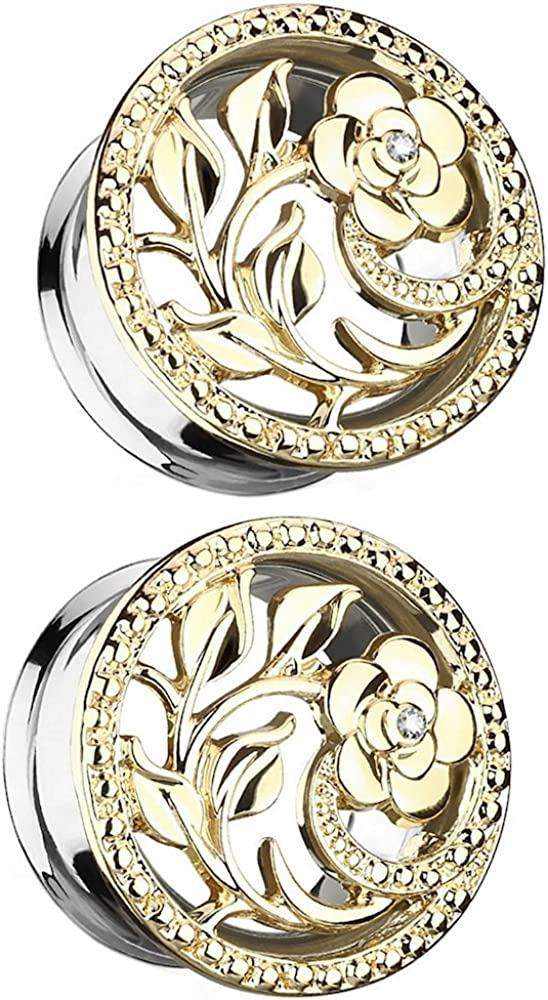 Covet Jewelry CZ Centered Flower Vines 316L Surgical Steel Double Flared Tunnel