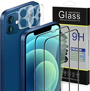 Sunjoyco [4 Pack] 2 Pack Screen Protector + 2 Pack Camera Lens Protector Compatible with iPhone 12 (6.1 inches), 9H Hardness Clear Anti-Scratch Bubble Free Case Friendly Tempered Glass Film