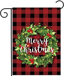 Allenjoy Merry Christmas Red Grid Garden Flag for Outside Mailbox Vertical Buffalo Check Plaid Farmhouse Yard Sign Customi...