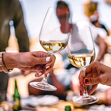 CREATIVELAND Crystal Wine Glasses Set All Purpose Wine Glasses, Premium LEAD-FREE CRYSTAL, Brilliant clarity, Thin Rim, Stemw