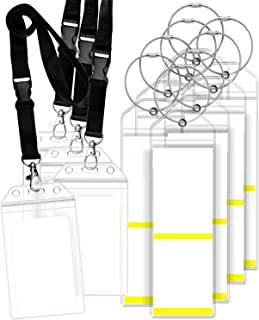 GreatShield Luggage Tag Holders and Resealable Cruise ID Badge Holders with Lanyard, Weatherproof Zip Seal & Steel Loops for Royal Caribbean and Celebrity Cruise (8 Pack Luggage Tag Holders / 4 Pack ID Badge Holders)