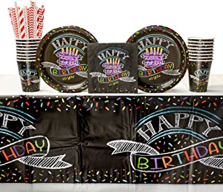 Chalk Birthday Party Supplies Pack for 16 Guests: Straws, Dinner Plates, Luncheon Napkins, Table Cover, and Cups