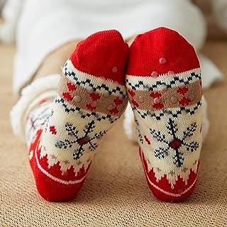 MrTom, MrTom Calcetines de Navidad, Calcetines de Algodón Térmicos Invierno Mujer Calcetines de Estar por Casa Navideños con Patrones de Papá Noel Reno Copo de Nieve y Muñeco de Nieves MT16