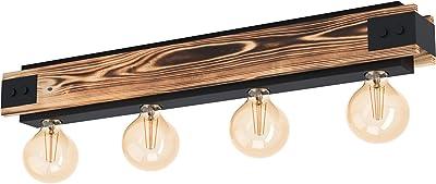 Eglo Plafonnier Layham 4 Ampoules Vintage Industrial Rétro Lampe de Salon en Acier Noir et Bois Naturel Lampe de Cuisine Plafonnier avec Douille E27