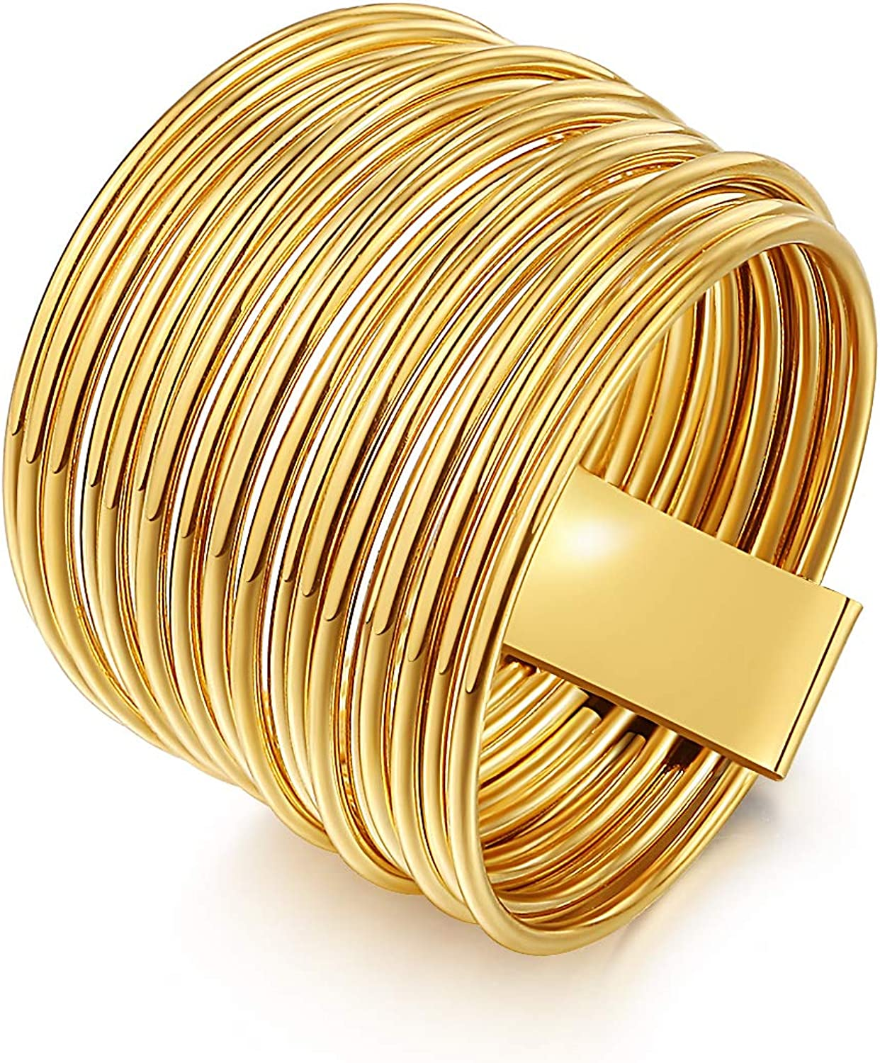 ailov Golden Multi Strand Band Ring Punk Thin Wired Multiple Ring Wrapped Boho Stacking 10K Gold-Plated Jewelry