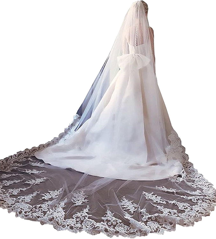 Fenghuavip White Bridal Veils 1 Tire Lace Edge Veil for Wedding