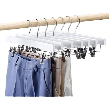 HOUSE DAY Lot de 25 Cintres en Bois avec Pinces Chrome Ajustables, Crochet Pivotant à 360 Degrés Cintres Antidérapants 35.5cm Blanc pour Jupes Jeans Pantalons