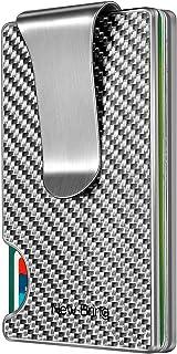 NEW-BRING Slim RFID Carbon Fiber Credit Card Holder for Men Money Clip Aluminum Metal Wallet Front Pocket Card Case (Silver)