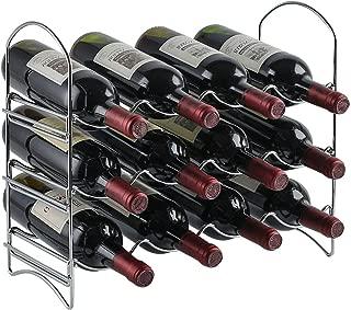 Neat-O 3 Tier 12 Bottle Wine Rack Tabletop Organizer Holder (Chrome)