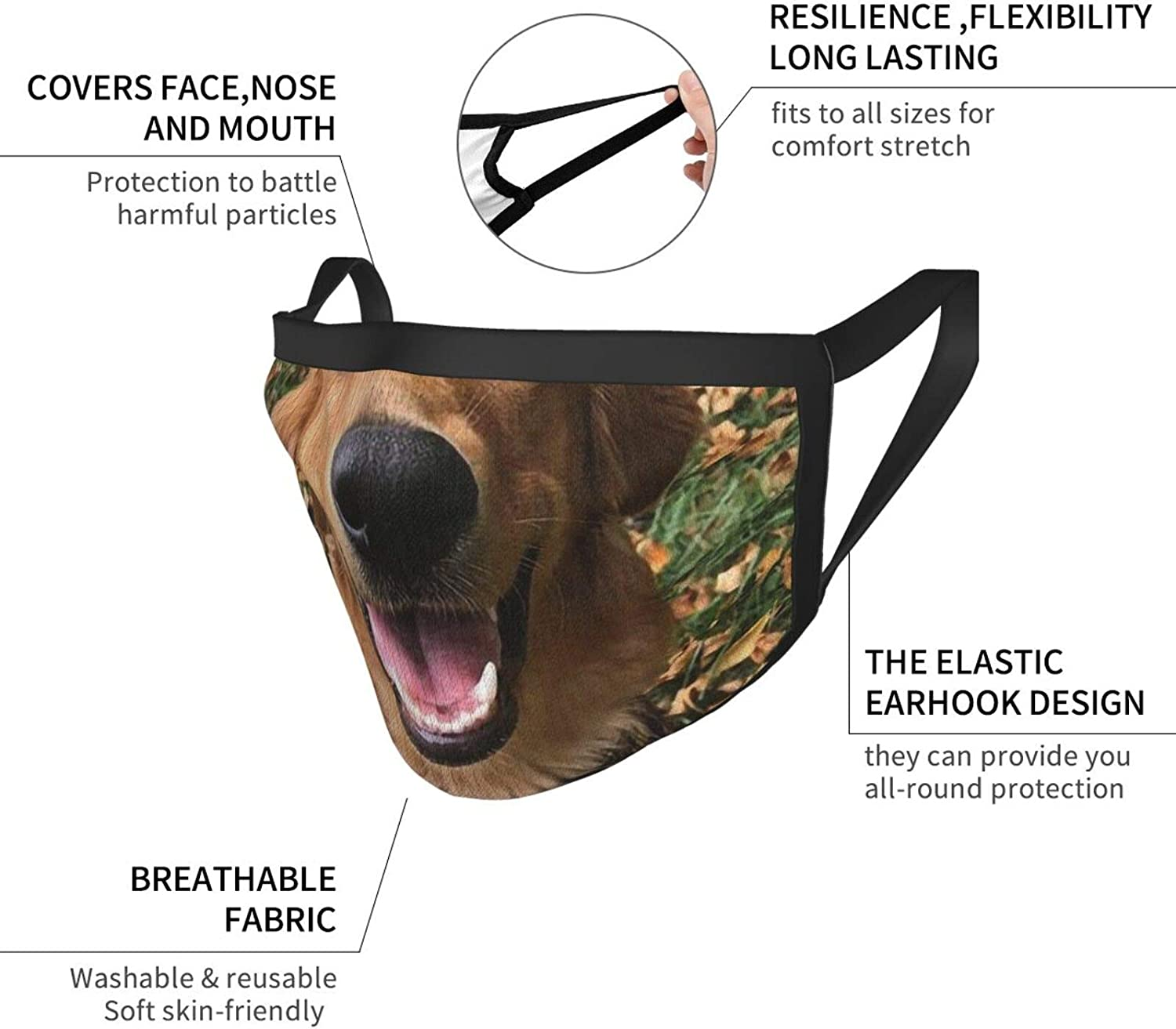 2 Packs Washable Mouth Wear, Golden Retriever Dog Unisex Facial Covering