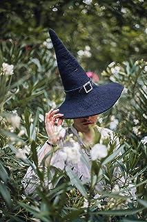 Sombrero de bruja negro de lana con cinto de cuero dark wicca halloween harry potter disfraz cosplay