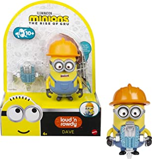 Minions: Loud 'n Rowdy Dave Talking Action Figure with Jackhammer Toy, Kids Gift Ages 4 Years & Older