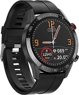 RNNTK Smartwatch Fitness Multifuncional Smartwatch, Llamadas Bluetooth Notificación De Llamada Frecuencia Cardíaca.Empuje De Información Ip68 Es Resistente Al Agua Reloj Inteligente-Silicona Negra
