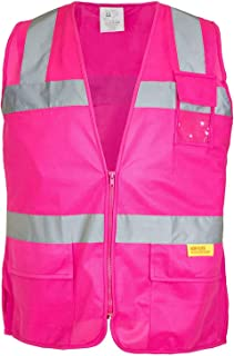 Troy Safety Class 2 Hi-Vis Safety Pink Vest with Reflective Strips and Pockets For Female(4X-Large)