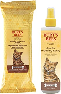 Combo Pack: Burt's Bees for Cats Grooming Wipes and Dander Reducing Spray with Colloidal Oat Flour & Aloe Vera   Cruelty F...