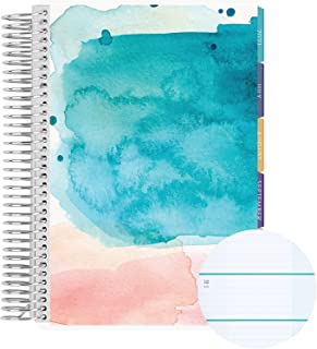 18 Month A5 Spiral Coiled Horizontal Weekly Life Planner/Agenda (July 2021 - December 2022). Watercolor Splash Flexible Co...