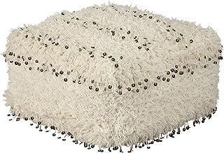 Signature Design by Ashley Celeste Pouf-Sequin Trim over Shag Upholstery-White