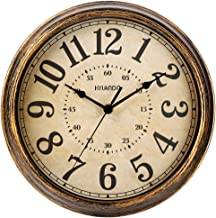HYLANDA Retro Wall Clock - 12 Inch Round Classic Clock Vintage Design - Silent Battery Operated Non Ticking Decorative for...
