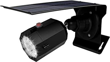 Fugetek Security Motion Sensor Light and Dummy Camera, Solar Powered, 3 Modes, IP65, Waterproof, 10 Bright LEDs, Rechargeable, Yard, Garden, Driveway, Walkway, Black
