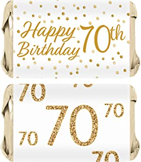 70th Birthday Party Miniatures Candy Bar Wrapper Stickers - White and Gold - 45 Count