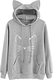 Women's Long Sleeve Cat Hoodies Cat Ear Pullover Hooded Sweatshirt with Kangaroo Pockets