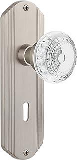 "Nostalgic Warehouse 752658 Deco Plate Passage with Keyhole Crystal Meadows Door Knob, Backset Size: 2.75"", Satin Nickel"