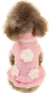 Joytale Turtleneck Flower Studded Pet Dog Sweater Apparel, Pink Female Girl Dog Winter Clothes