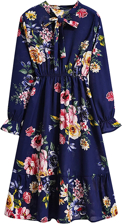 Xinantime Women's Dresses for Work Plus Size Long-Sleeved Bowknot Dress Elastic Waist Floral Print Ruffle Mid-Length Dress