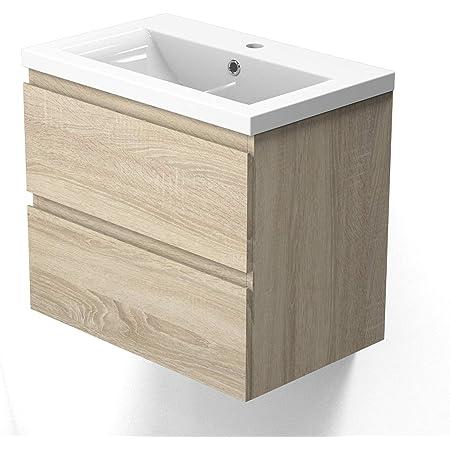 AICA sanitaire Meuble sous Vasque De Salle De Bain Suspendu Bois Clair avec Lavabo et 2 tiroirs Espace De Rangement 50cm
