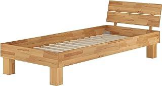 Erst-Holz Lit Simple en hêtre Naturel 100x200 Style Moderne avec sommier à Lattes 60.80-10