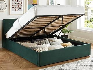 HOMIFAB Lit Coffre 160x200 en Velours Vert avec tête de lit et sommier à Lattes - Collection Tina