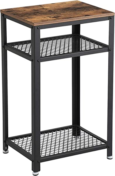 VASAGLE Industrial Side Table End Telephone Table With 2 Tier Mesh Shelves For Office Hallway Or Living Room Wood Look Accent Furniture With Metal Frame ULET75BX