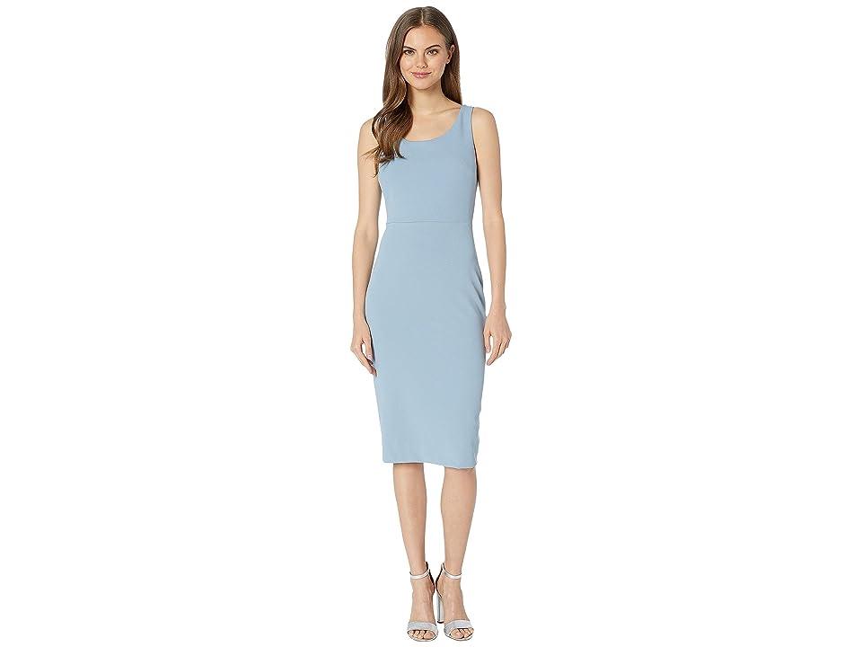 Betsey Johnson Scuba Crepe Midi Dress (Blue/Grey) Women