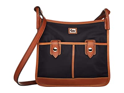 Dooney & Bourke Camden Double Pocket Crossbody (Black/Dark Chocolate Trim) Cross Body Handbags