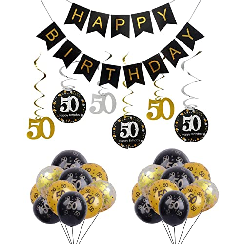 50th Birthday Party Decorations Happy Banner With Foil Hanging Swirls Number Print And Confetti
