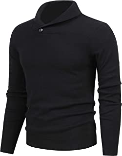 Mens Pullover Sweaters,Casual Slim Fit Knitted Collar Long Sleeve Outwear Soft Cotton Sweater with One Button