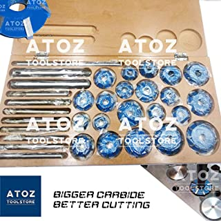 ATOZ.Toolstore Colorful Carbide Tipped Valve Seat Face Cutters 30 45 70 (20 Bore Degree) Arbor RODS, Handles (21x Cutter Set Big Engines (4 Wheelers))