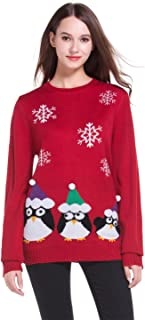 *daisysboutique* Women's Christmas Cute Penguin Knitted Sweater Girl Pullover