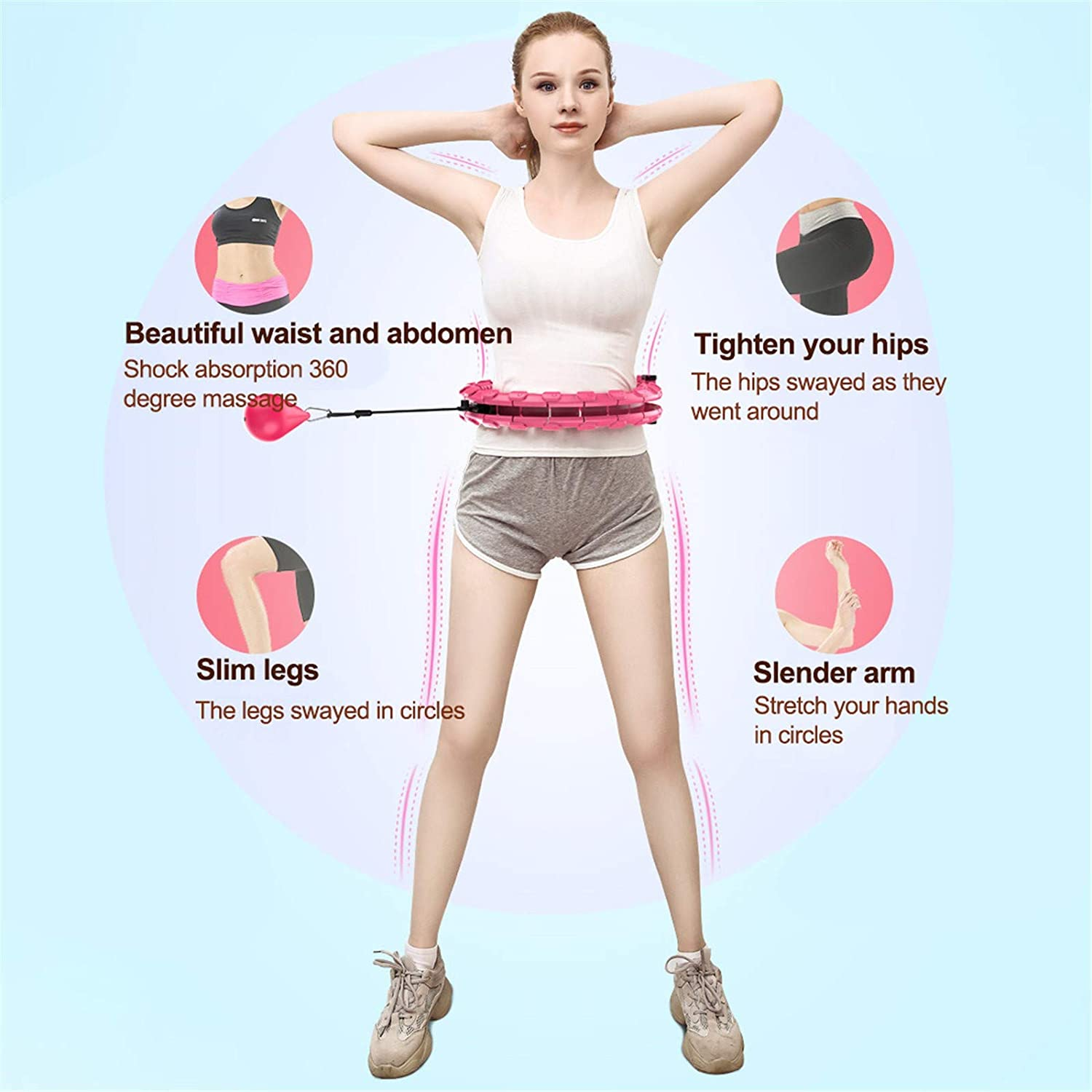 werw Exercise Hula Hoops,3Color Adjustable Size Smart Fitness and Massage Hula Hoops,24 Knots Waist,Exercise for Legs Waist And Hips