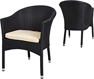 TRY & DO Patio Wicker Chair with Armrest Outdoor Rattan Dining Chair with Seat Cushion Garden Furniture for Garden, Balcony, Lawn and Indoors-1 Pack (Black)