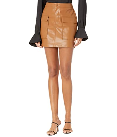 BB Dakota Leather Too Late Skirt (Caramel) Women