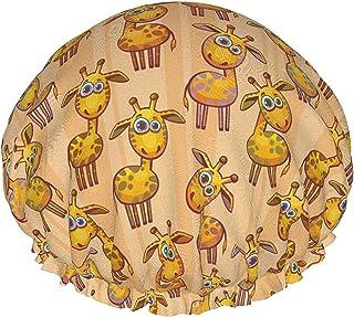 Kreskówka zabawna żyrafa wodoodporna czapka prysznicowa z elastycznym obszyciem odwracalna konstrukcja do prysznica czapka...