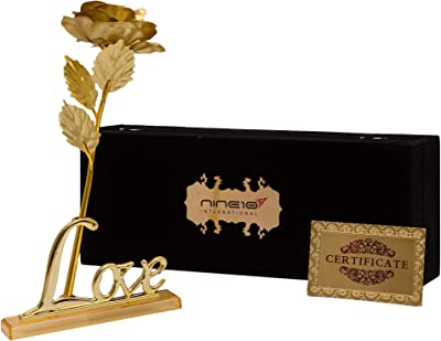 NINE10 Sparkle Gold Rose 24K Gold Foil/Gold Plated Rose with Exclusive Velvet Gift Box and Love Stand