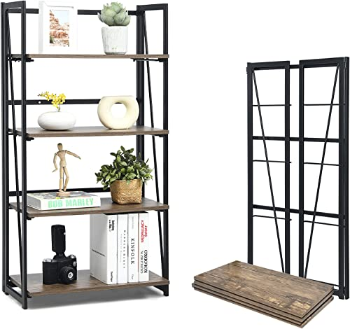 wholesale Giantex 4-Tier Bookshelf, No-Assembly Folding Industrial Storage Shelves w/ Anti-Tipping Wall 2021 Bolt, Large Storage Space Display Rack sale and Freestanding Storage Organizer online