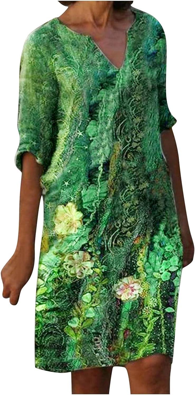 KAIXLIONLY Women's Floral Print Dresses Short Sleeve Features Ti