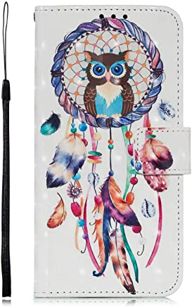 DENDICO Huawei Mate Case Leather Wallet Cover Flip Bookstyle Cute Pattern Magnetic Shockproof Protective Case for Huawei Mate Owl and Dreamcatcher