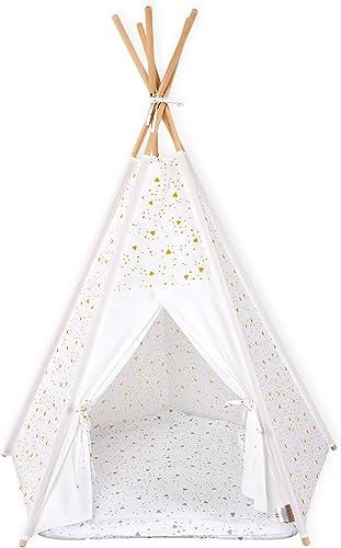 Force Enfants Tente tipi Jeu Uni Blanc et arrondis Triangles Jaune